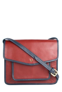 Hidesign Halsey 01 Red & Navy Solid Leather Sling Bag