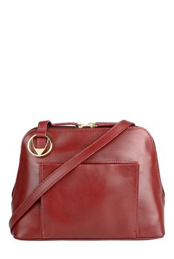 Hidesign Liscio 04 Red Solid Leather Sling Bag