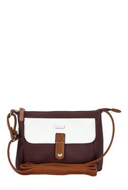 Lavie Skunk Maroon & White Solid Sling Bag