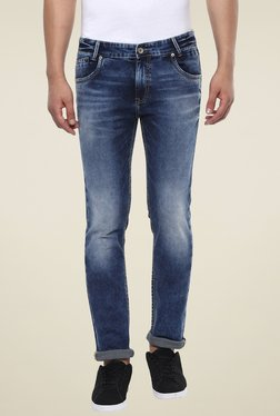 Mufti Blue Lightly Washed Narrow Fit Mid Rise Jeans