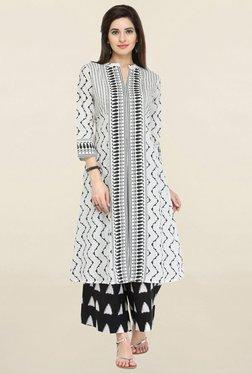 Varanga Off White Printed Cotton Straight Kurta
