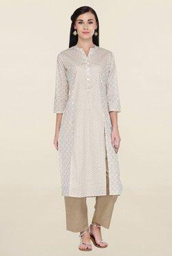 Varanga White & Beige Printed Cotton Kurta With Palazzo