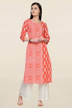 Varanga Orange Printed Cotton Straight Kurta