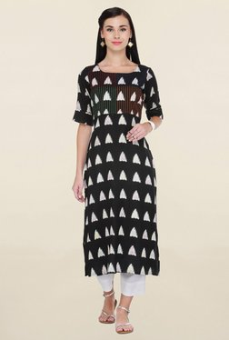 Varanga Black & White Printed Rayon Kurta With Palazzo