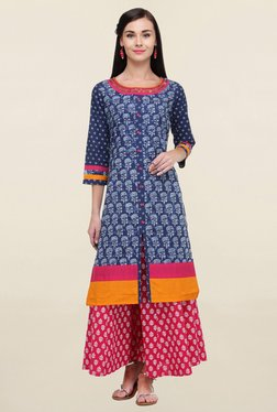 Varanga Navy Printed Cotton Straight Kurta - Mp000000001825903