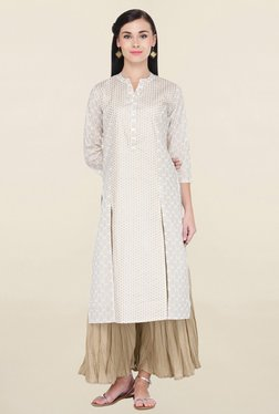 Varanga White & Beige Printed Cotton Kurta With Palazzo - Mp000000001826296