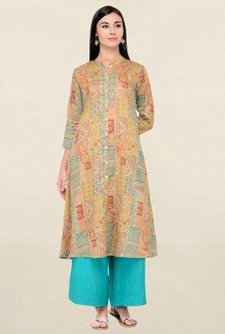 Varanga Multicolor & Turquoise Cotton Kurta With Palazzo