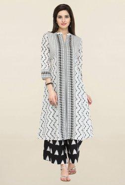 Varanga White & Black Printed Cambric Kurta With Palazzo