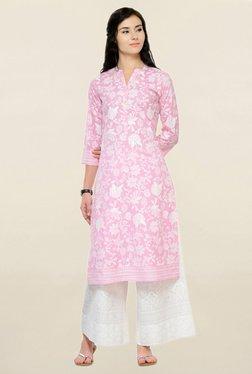 6706ab4a7dd87b Varanga Pink Printed Cotton Straight Kurta