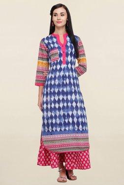 Varanga Blue Printed Cotton Straight Kurta
