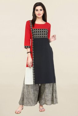Varanga Black & Beige Printed Flex Kurta With Palazzo