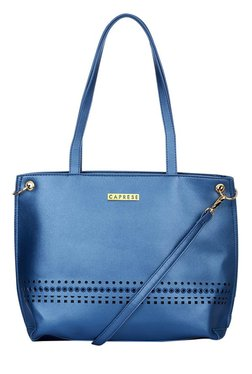 Caprese Donna Metallic Blue Cut Work Shoulder Bag