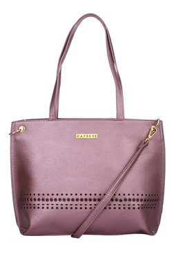 Caprese Donna Mauve Cut Work Shoulder Bag