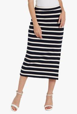 Globus Navy & Off White Striped Skirt