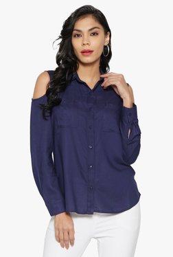 Globus Navy Cold Shoulder Shirt