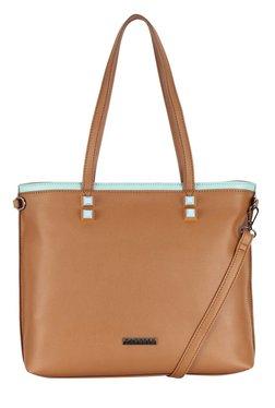 Caprese Nimmy Tan & Mint Green Solid Shoulder Bag