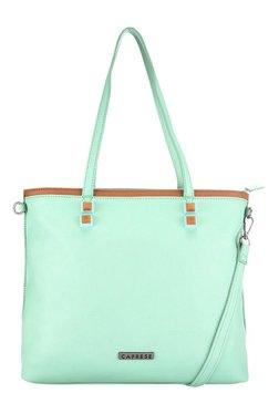 Caprese Nimmy Mint Green & Tan Solid Shoulder Bag