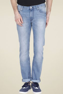 Lee Light Blue Slim Fit Heavily Washed Jeans