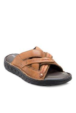 Franco Leone Tan Cross Strap Sandals