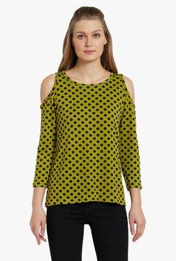 Globus Green Polka Dot Cold Shoulder Top