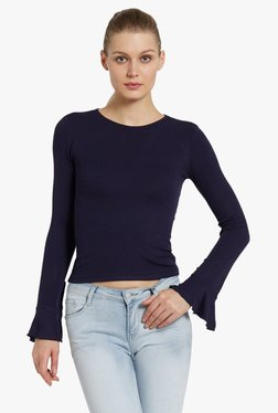 Globus Navy Round Neck Knit Top