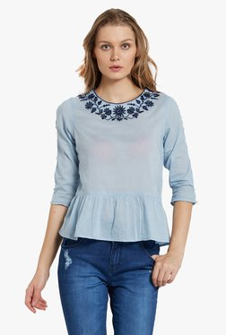 Globus Blue Embroidered Peplum Top