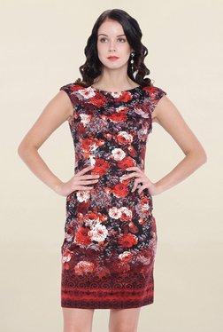Avirate Maroon Floral Print Dress