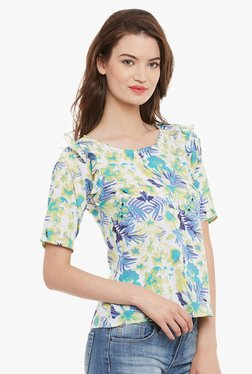 Athena Off White & Green Floral Print Top