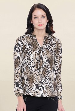Avirate Brown Animal Print Top