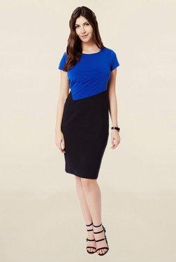 Avirate Blue & Black Knee Length Dress