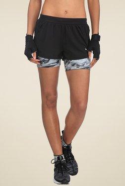 Puma Black Printed Mid Rise Shorts