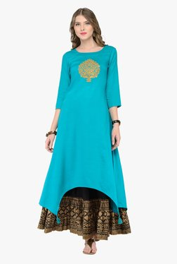 Varanga Teal & Black Embroidered Kurta With Skirt