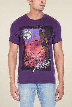 Reebok Purple Printed Round Neck T-Shirt