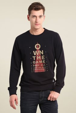 Adidas Black Printed Round Neck Sweatshirt