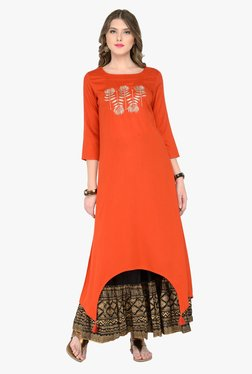 Varanga Orange & Black Embroidered Kurta With Skirt