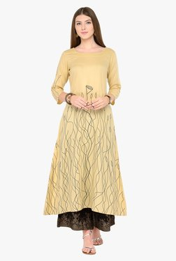 Varanga Orange & White Embroidered Kurta With Skirt
