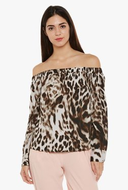 Oxolloxo Brown & Off White Printed Top