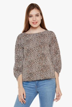 Oxolloxo Off White & Brown Printed Top