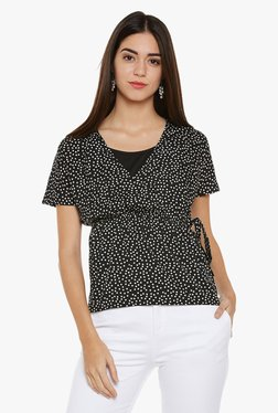 Oxolloxo Black & Off White Polka Dot Top