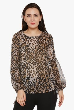 Oxolloxo Brown Animal Print Top - Mp000000001848466