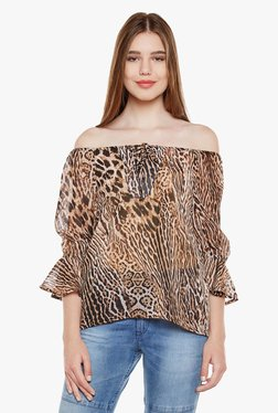 Oxolloxo Brown Animal Print Top