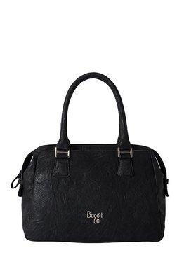 Baggit L Edge Upton Black Textured Bowler Bag