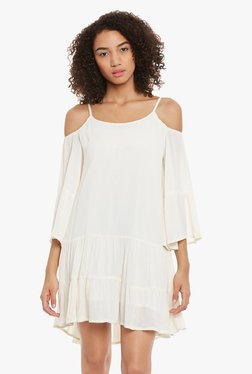 Femella Off White Cold Shoulder Above Knee Dress
