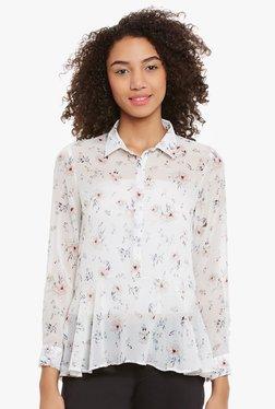 Femella Off White Floral Print Shirt
