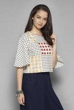 Bombay Paisley By Westside Off White Cropped Blouse