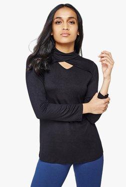 AND Black Viscose Full Sleeves Top