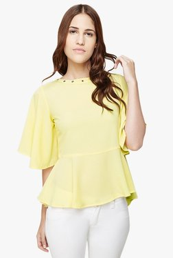 AND Yellow Polyester Peplum Top