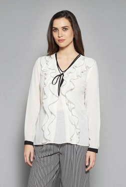 Wardrobe By Westside White Ruffled Blouse