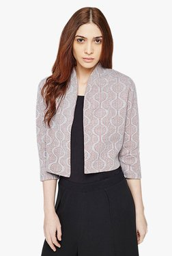 AND Grey Printed Jaquard Knit Cropped Jacket