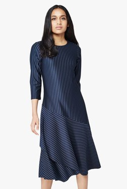 AND Navy Striped Asymmetrical Layered Dress